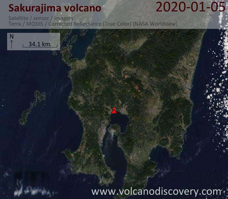 Satellite image of Sakurajima volcano on  5 Jan 2020