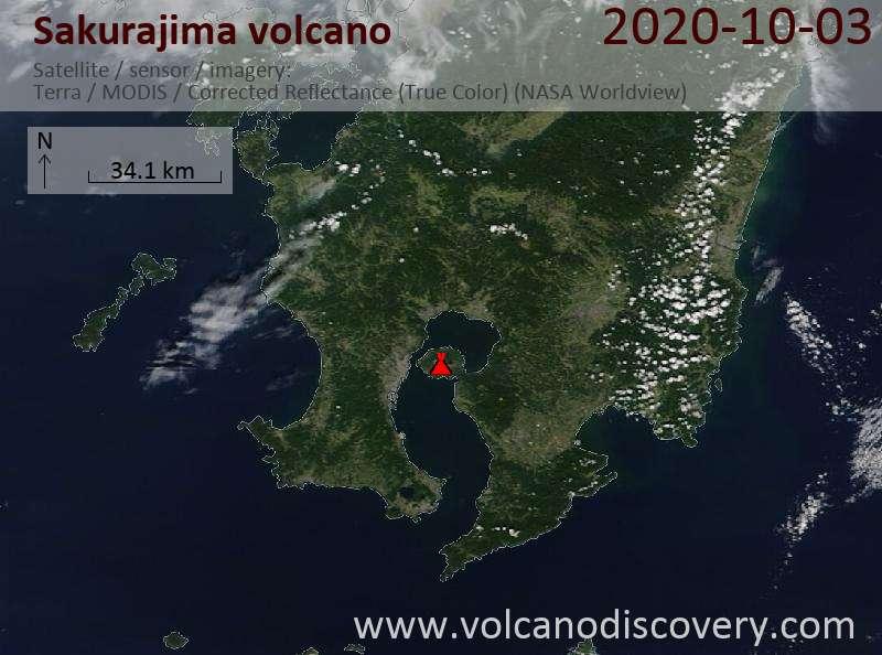Satellite image of Sakurajima volcano on  3 Oct 2020