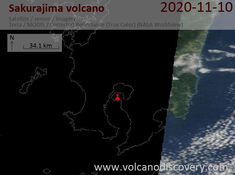 Satellite image of Sakurajima volcano on 10 Nov 2020