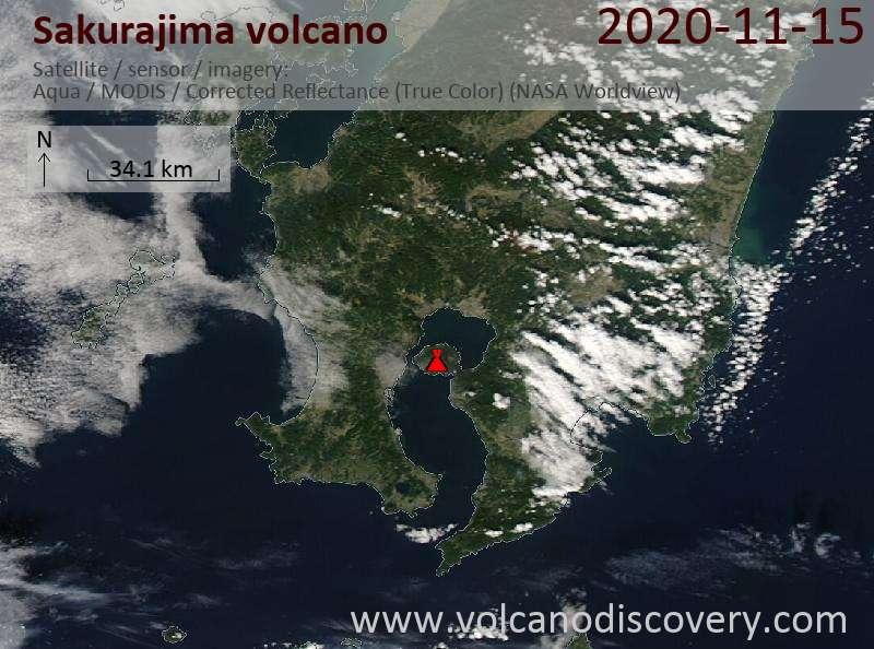 Satellite image of Sakurajima volcano on 15 Nov 2020