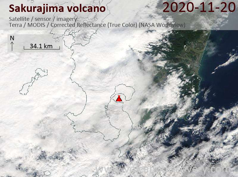 Satellite image of Sakurajima volcano on 20 Nov 2020