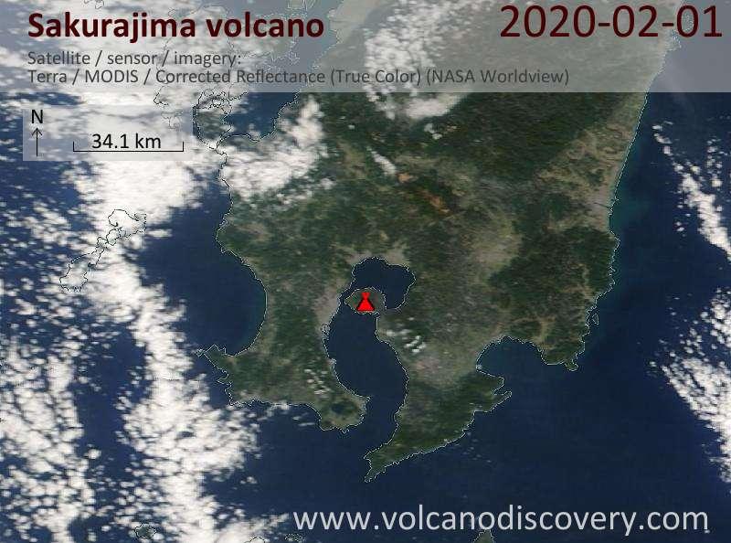 Спутниковое изображение вулкана Sakurajima  1 Feb 2020