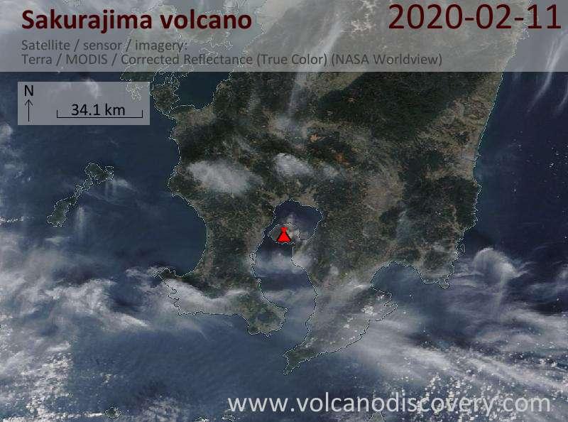 Спутниковое изображение вулкана Sakurajima 11 Feb 2020