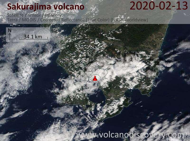Спутниковое изображение вулкана Sakurajima 13 Feb 2020