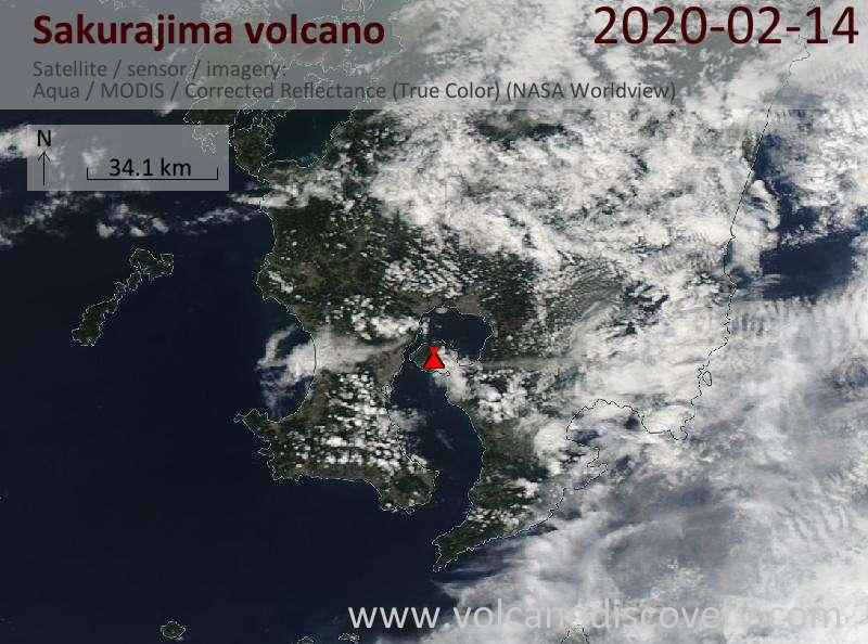 Спутниковое изображение вулкана Sakurajima 14 Feb 2020