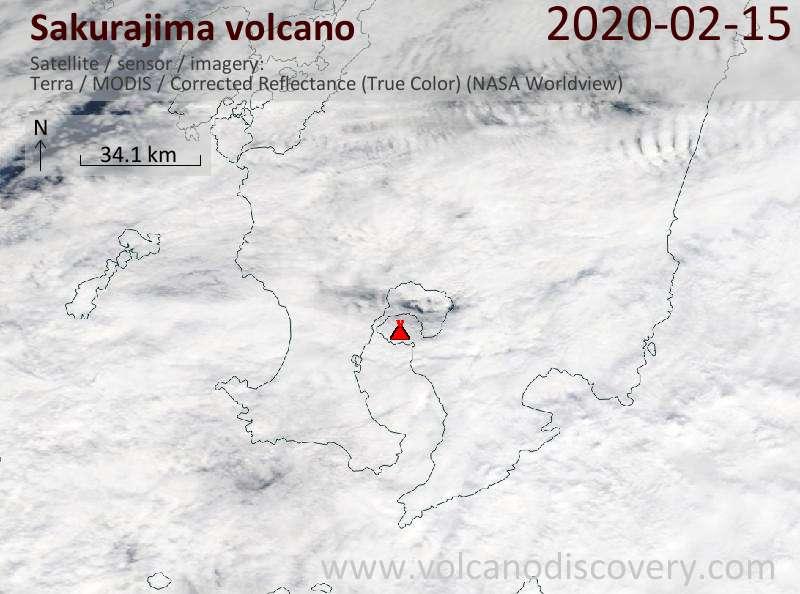 Satellite image of Sakurajima volcano on 15 Feb 2020