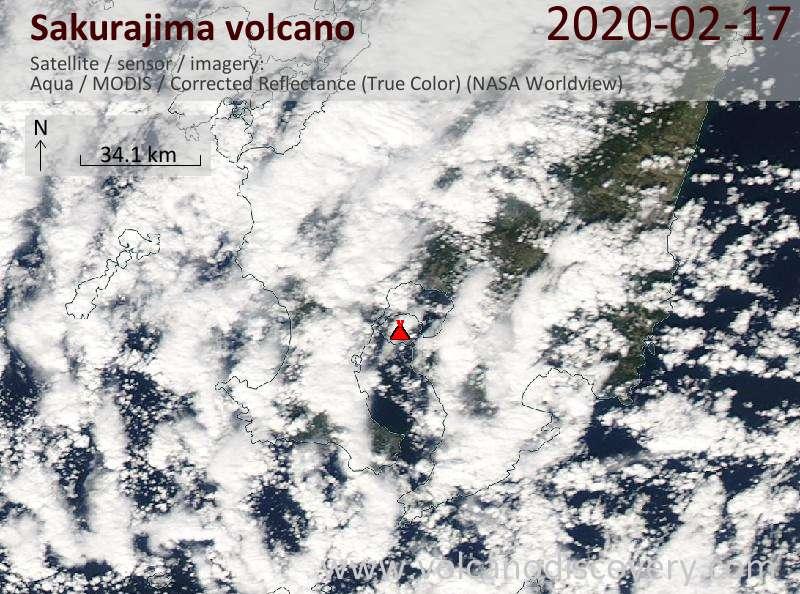 Satellite image of Sakurajima volcano on 17 Feb 2020