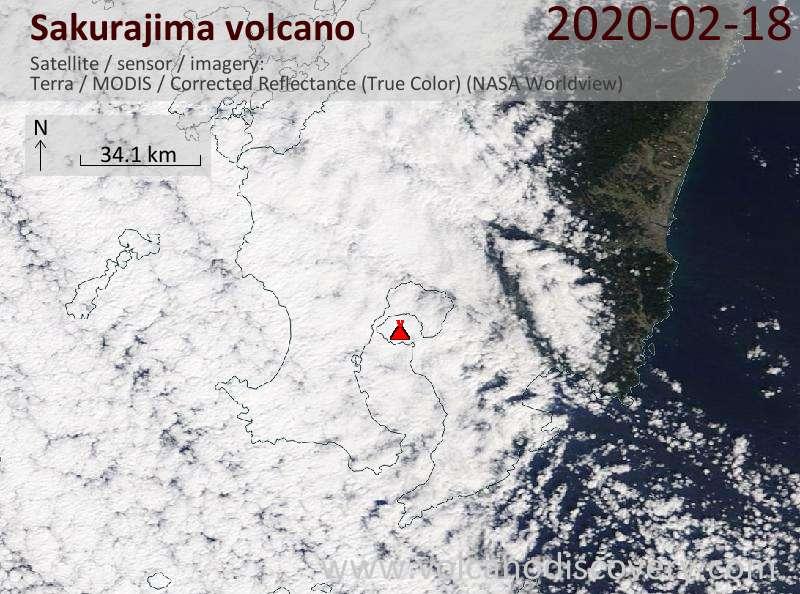 Satellite image of Sakurajima volcano on 18 Feb 2020