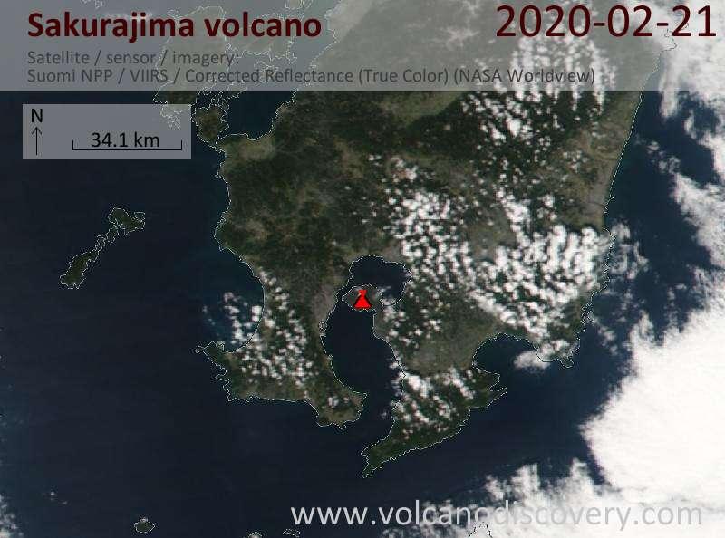 Satellite image of Sakurajima volcano on 22 Feb 2020