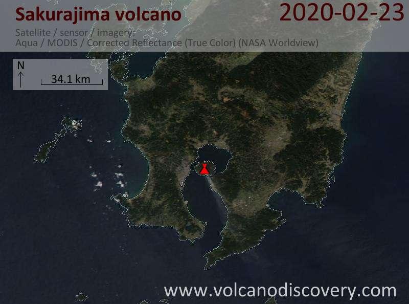 Satellite image of Sakurajima volcano on 23 Feb 2020