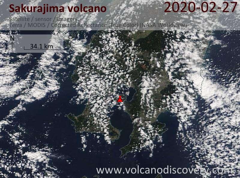 Satellitenbild des Sakurajima Vulkans am 27 Feb 2020