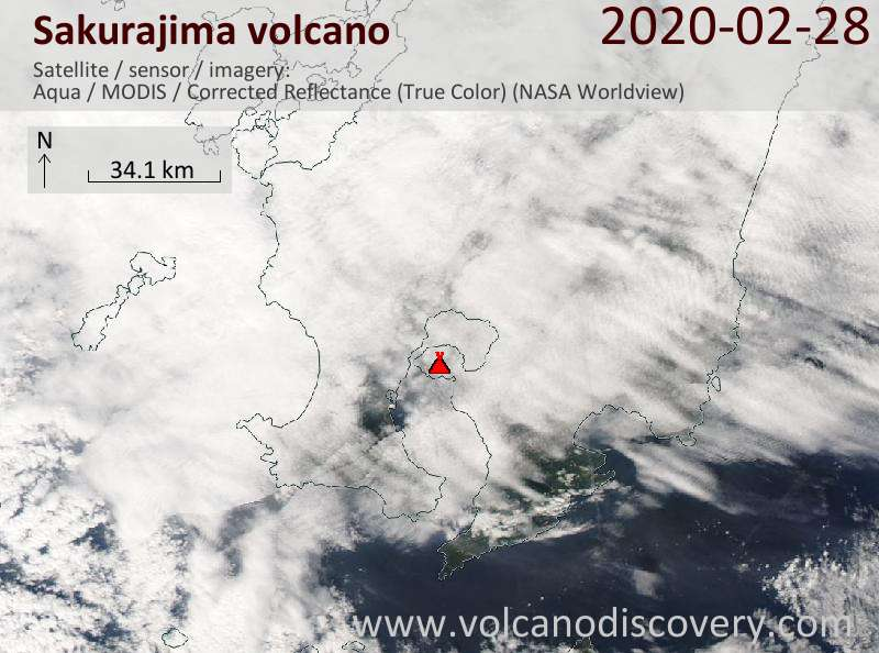 Satellitenbild des Sakurajima Vulkans am 28 Feb 2020