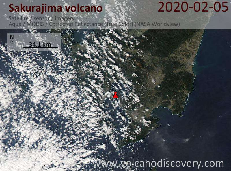 Спутниковое изображение вулкана Sakurajima  5 Feb 2020