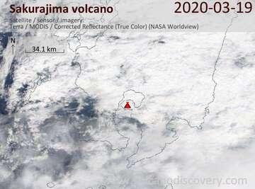 Satellite image of Sakurajima volcano on 19 Mar 2020