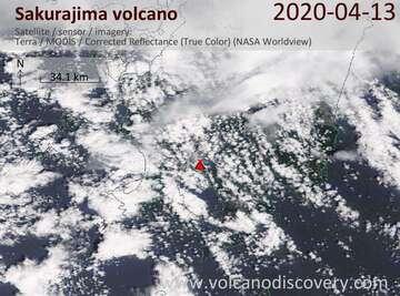 Satellite image of Sakurajima volcano on 13 Apr 2020