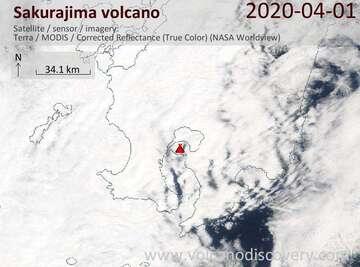 Satellite image of Sakurajima volcano on  1 Apr 2020