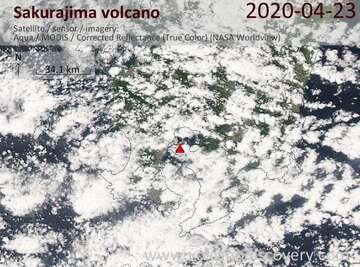 Satellite image of Sakurajima volcano on 23 Apr 2020