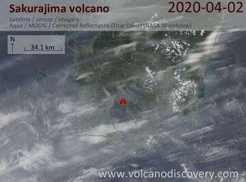 Satellite image of Sakurajima volcano on  2 Apr 2020