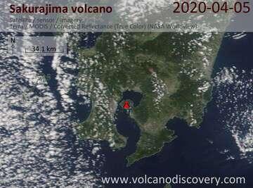 Satellite image of Sakurajima volcano on  5 Apr 2020