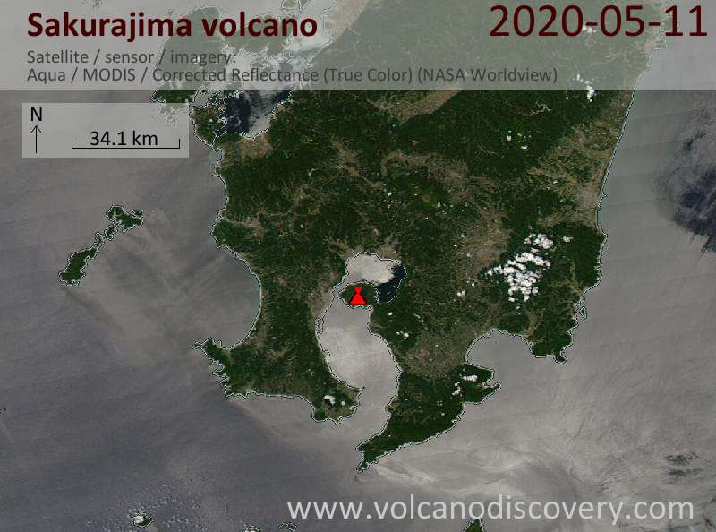 Satellite image of Sakurajima volcano on 11 May 2020
