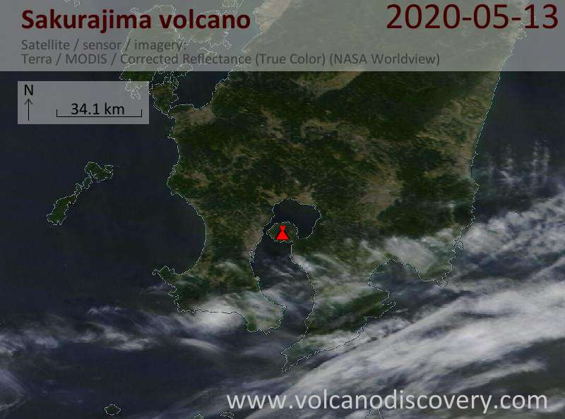 Satellite image of Sakurajima volcano on 13 May 2020