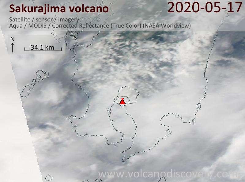 Satellite image of Sakurajima volcano on 18 May 2020