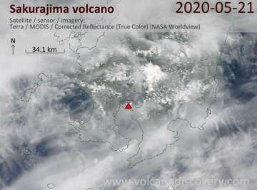 Satellite image of Sakurajima volcano on 21 May 2020