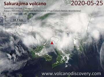 Satellite image of Sakurajima volcano on 25 May 2020