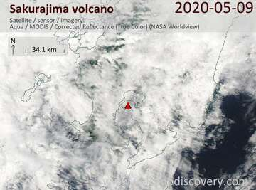 Satellite image of Sakurajima volcano on  9 May 2020