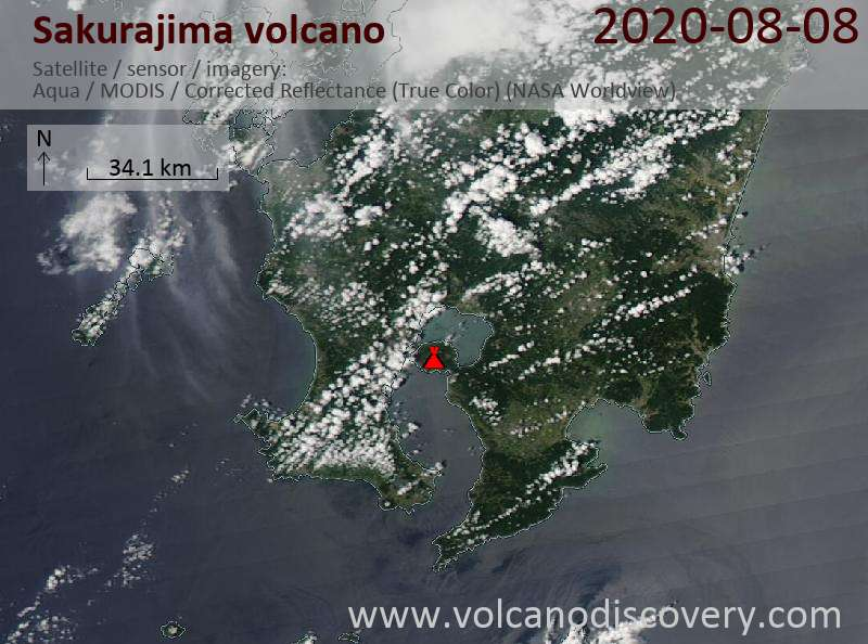 Satellitenbild des Sakurajima Vulkans am  8 Aug 2020