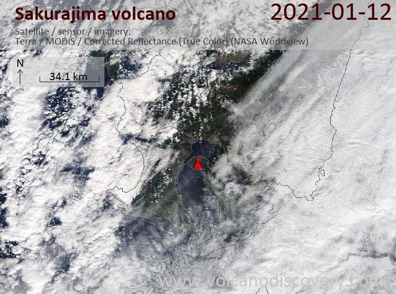 Satellite image of Sakurajima volcano on 12 Jan 2021