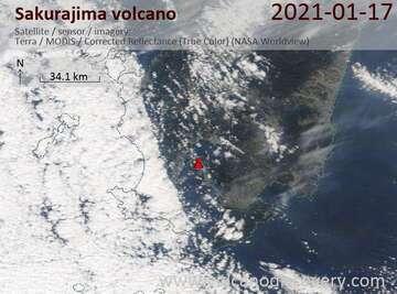 Satellite image of Sakurajima volcano on 17 Jan 2021