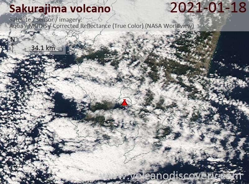 Satellite image of Sakurajima volcano on 18 Jan 2021
