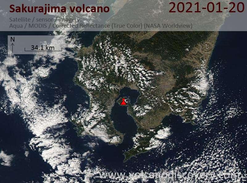 Satellite image of Sakurajima volcano on 20 Jan 2021