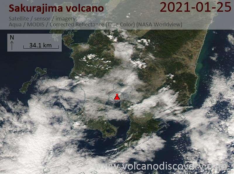 Satellitenbild des Sakurajima Vulkans am 25 Jan 2021