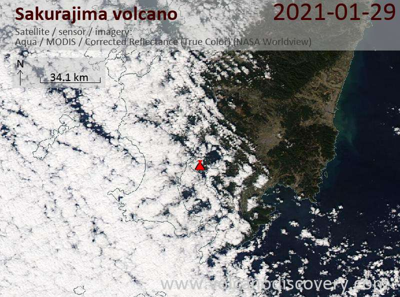 Satellite image of Sakurajima volcano on 29 Jan 2021