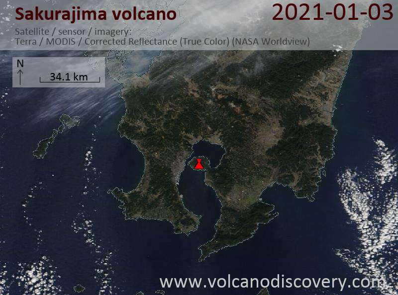 Satellite image of Sakurajima volcano on  3 Jan 2021
