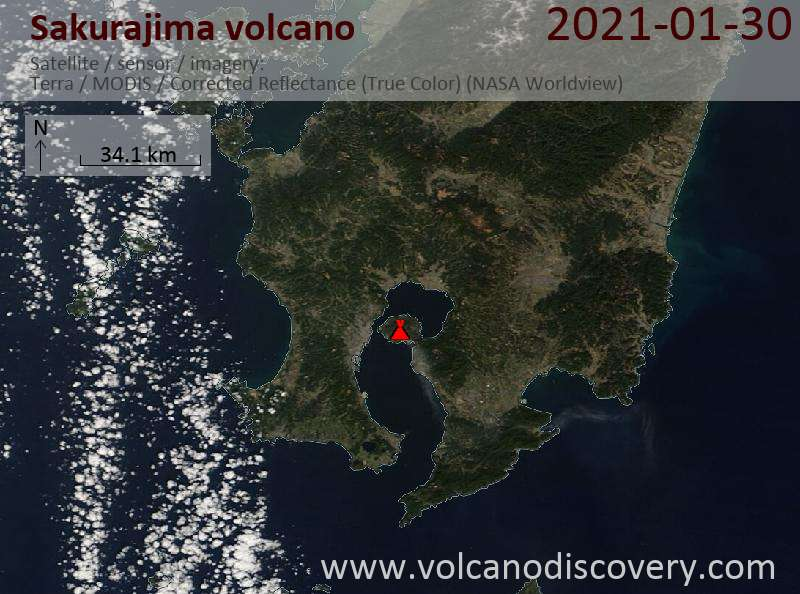 Satellite image of Sakurajima volcano on 30 Jan 2021