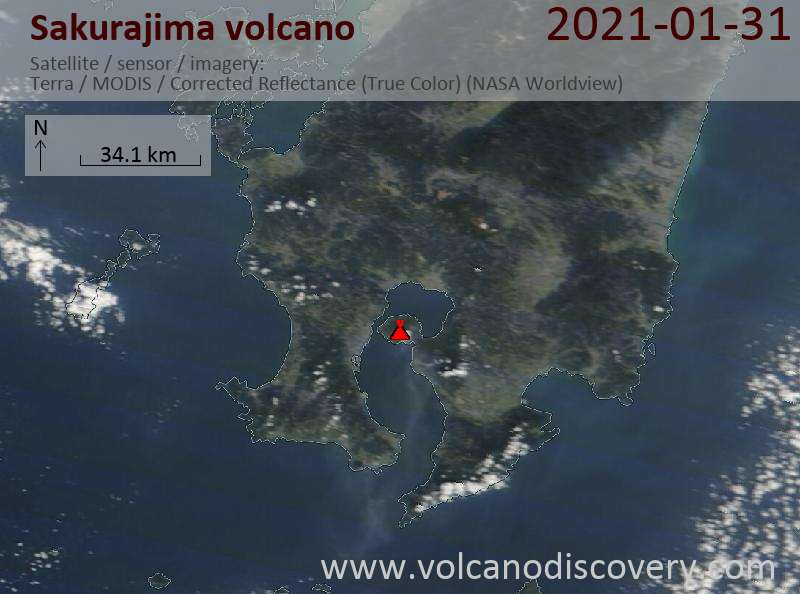 Satellite image of Sakurajima volcano on 31 Jan 2021
