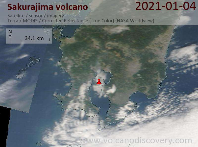 Satellite image of Sakurajima volcano on  4 Jan 2021