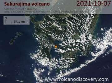 Satellite image of Sakurajima volcano on  7 Oct 2021