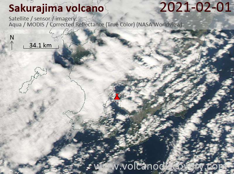 Satellitenbild des Sakurajima Vulkans am  1 Feb 2021