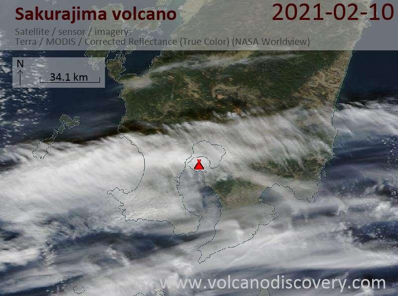 Спутниковое изображение вулкана Sakurajima 11 Feb 2021