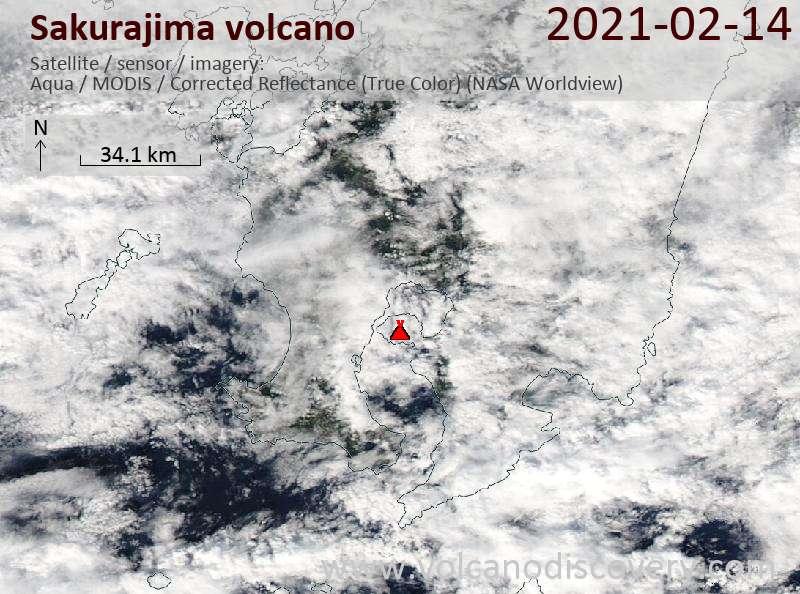 Satellite image of Sakurajima volcano on 14 Feb 2021