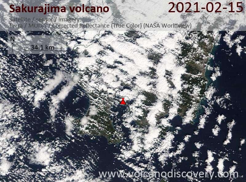 Спутниковое изображение вулкана Sakurajima 15 Feb 2021
