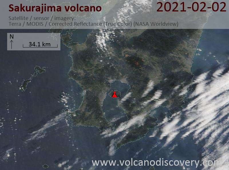 Satellitenbild des Sakurajima Vulkans am  2 Feb 2021