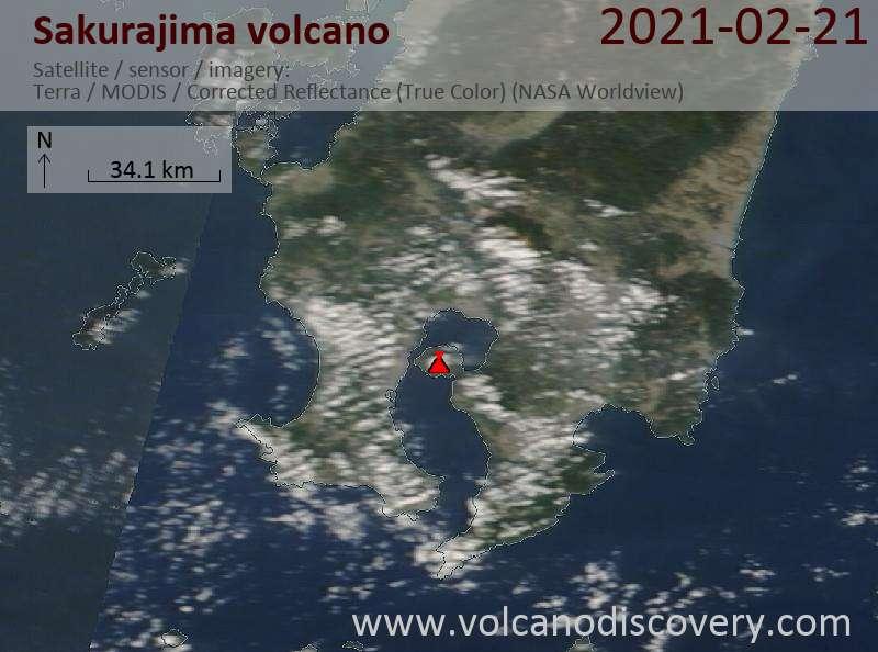 Satellite image of Sakurajima volcano on 21 Feb 2021
