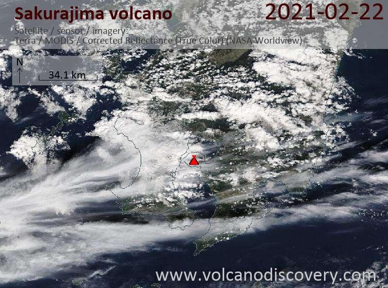 Satellite image of Sakurajima volcano on 23 Feb 2021