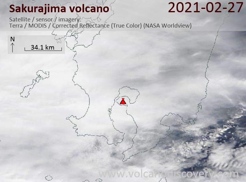 Satellite image of Sakurajima volcano on 28 Feb 2021