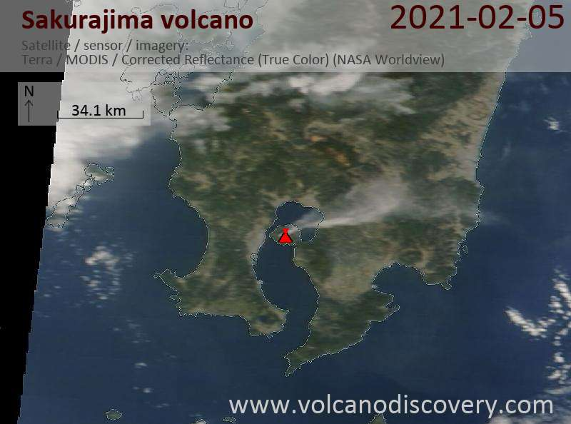 Satellite image of Sakurajima volcano on  5 Feb 2021